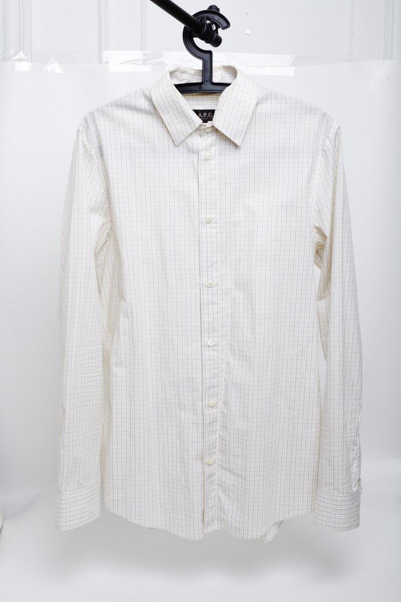 Apc Windowpane Check Shirt With Detachable Collar Size Small