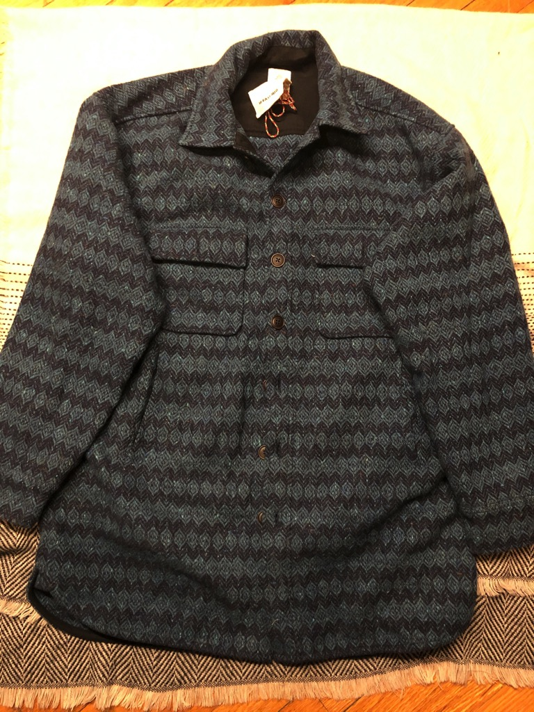 18 East Keating oversized shirt jacket in petrol blue Molloy & Sons donegal diamondweave tweed...jpg
