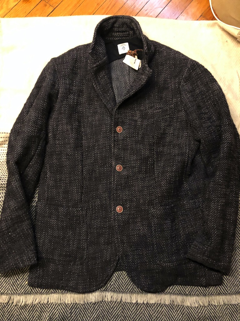 18 East Osman Jacket in overdyed charcoal khadi cotton tweed in size L.jpg