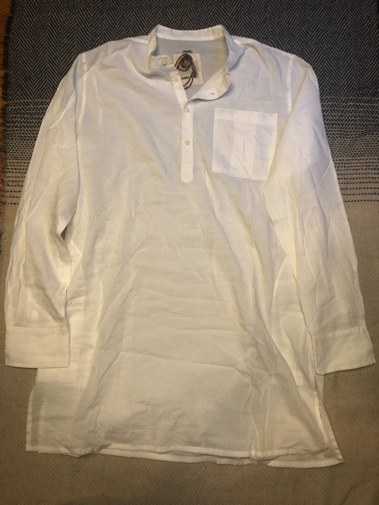 18 East Rafiq kurta in white seersucker in size L.jpg