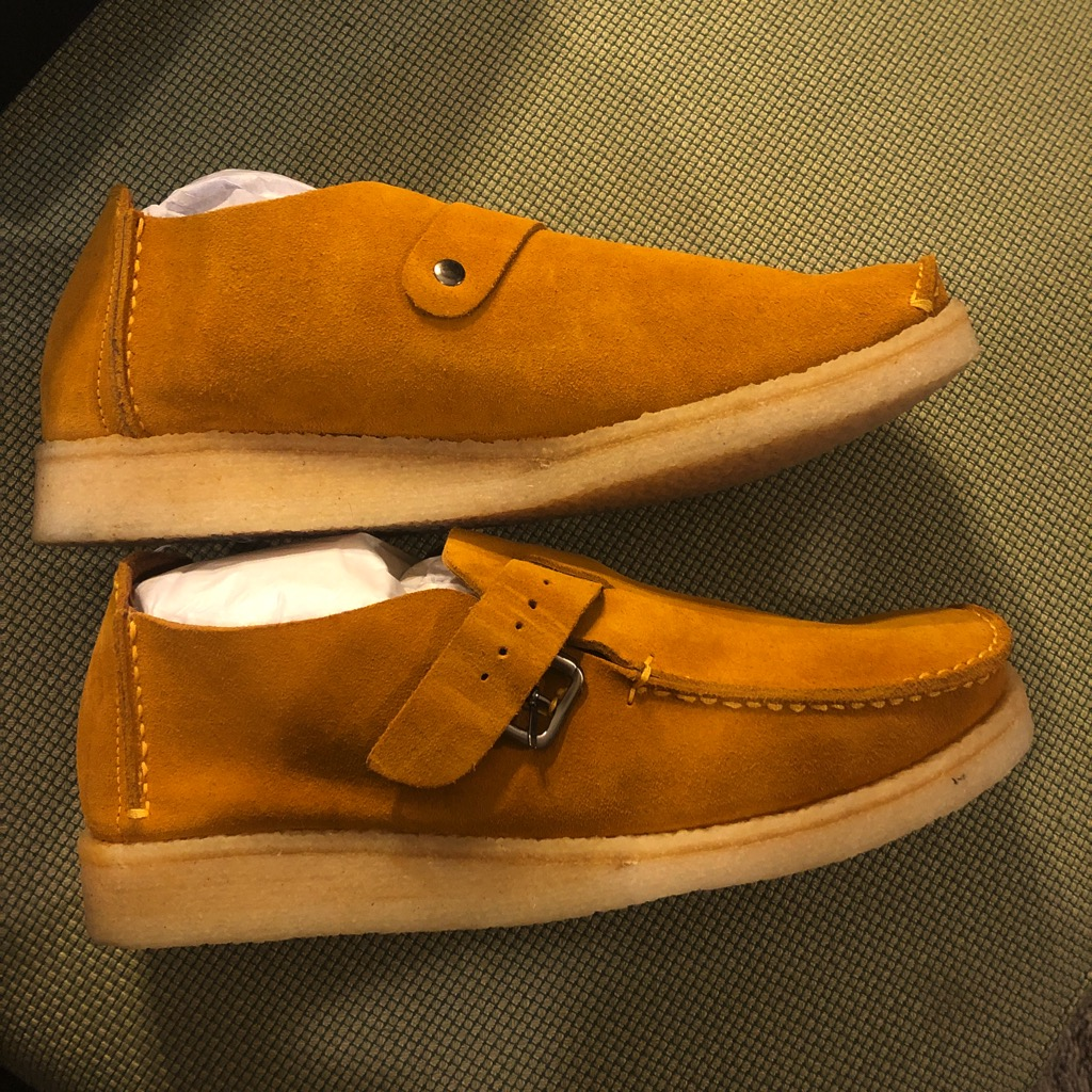 18 East x Padmore & Barnes single piece monk strap shoes in sunflower suede in size 11_1.jpg