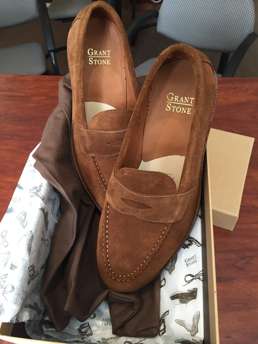 20190618 Grant Stone Bourbon suede Traveler Penny Loafers - unboxing.JPG