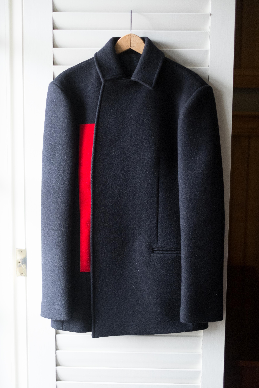 51da724942d Incredible Raf Simons Navy Red velcro panel coat