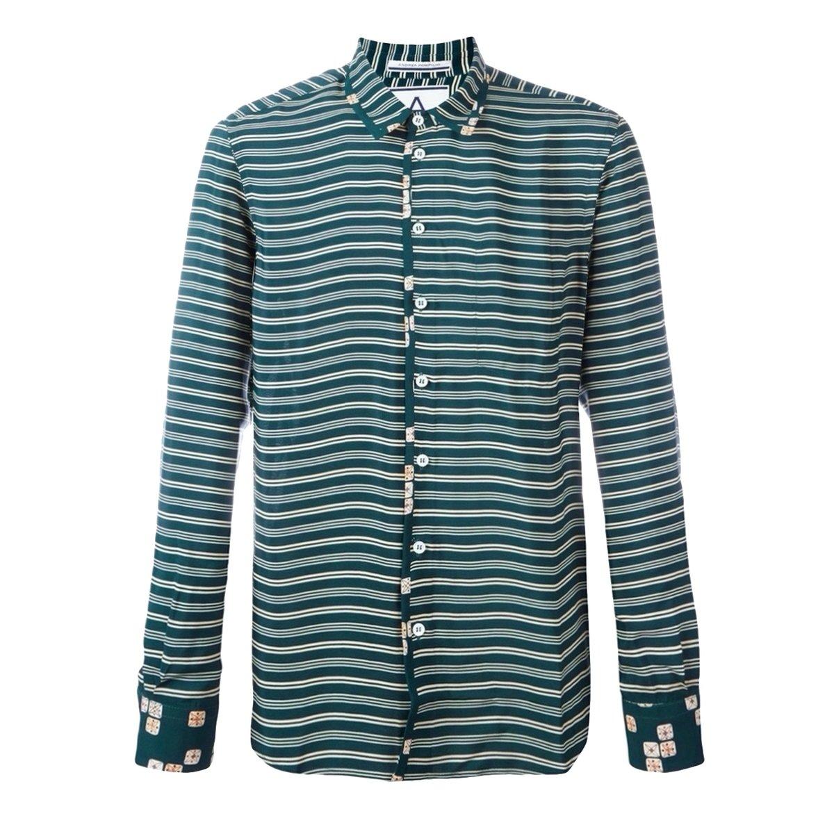 andrea pompilio striped viscose shirt green.jpg