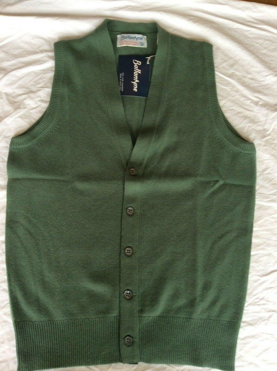 Ballantyne Vintage Men's Cashmere Lorne 2ply Waistcoat Vest Green BNWT Size 38 6.jpg