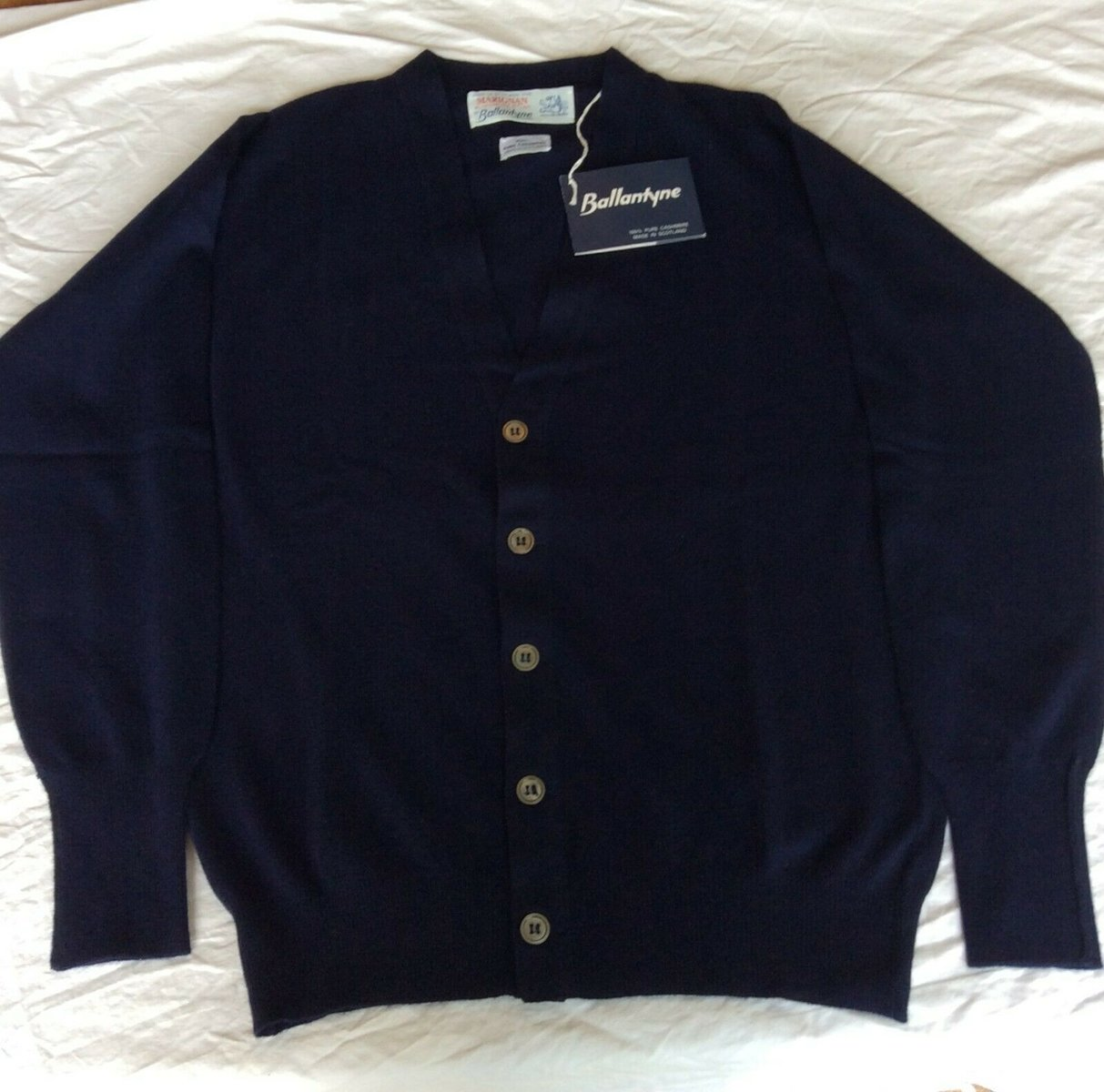 Ballantyne Vintage Men's Cashmere Navy Pullman Cardigan, New with tags Size 38 3.jpg