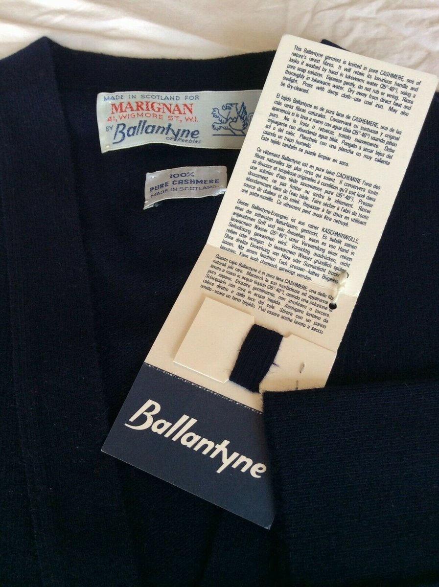 Ballantyne Vintage Men's Cashmere Navy Pullman Cardigan, New with tags Size 38 4.jpg