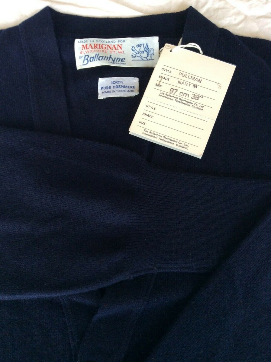 Ballantyne Vintage Men's Cashmere Navy Pullman Cardigan, New with tags Size 38.jpg