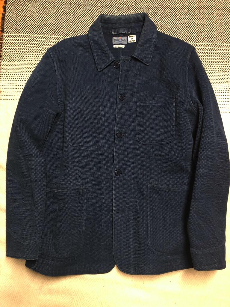 Blue Blue Japan yarn-dyed indigo sashiko coverall jacket in size XL.jpg