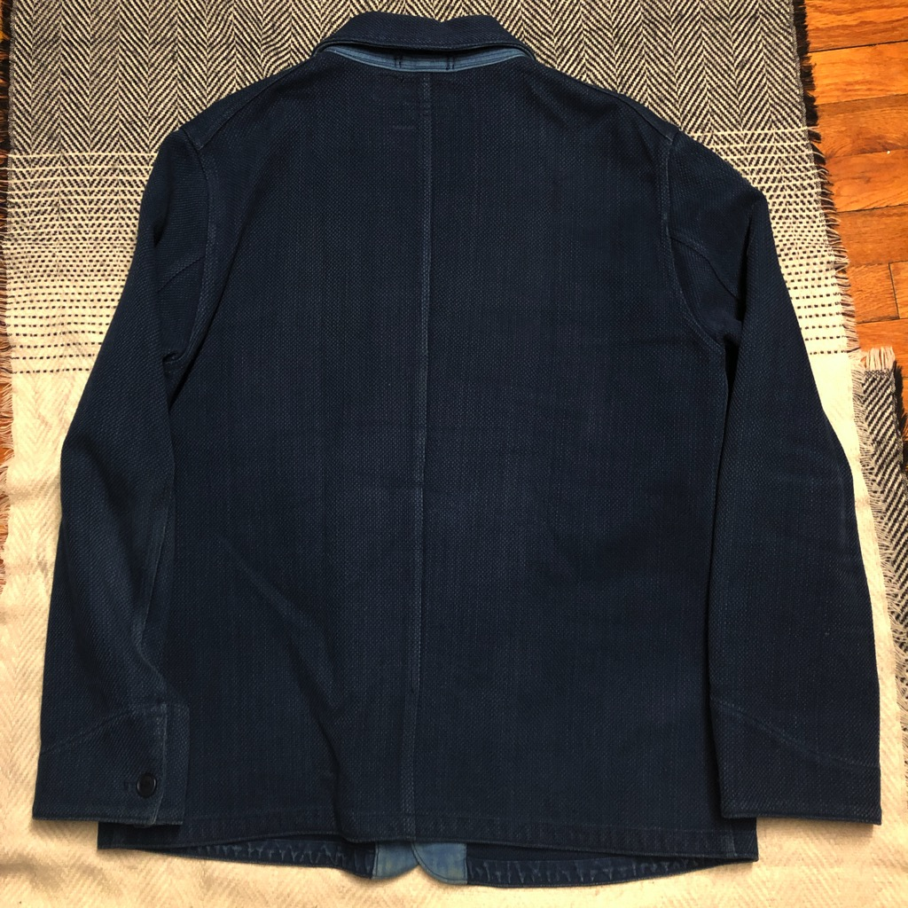 Blue Blue Japan yarn-dyed indigo sashiko coverall jacket in size XL_2.jpg