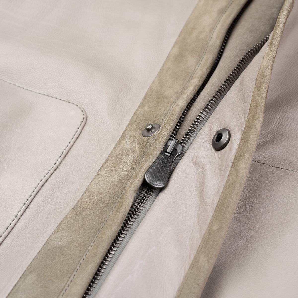 BOTTEGA VENETA Gray Taurus Leather Bomber Jacket with Velvet Cotton Lining 50 US M2.jpg