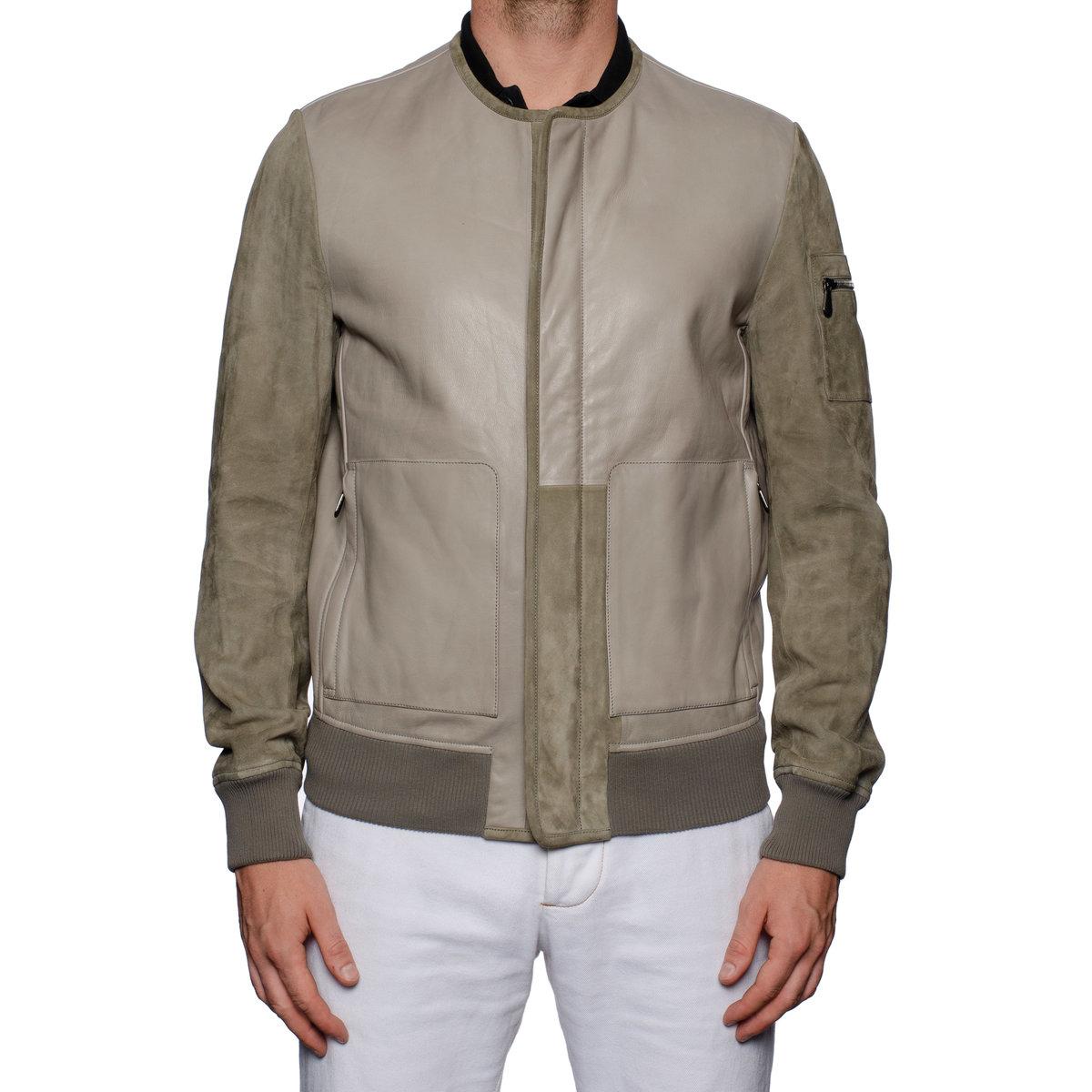 BOTTEGA VENETA Gray Taurus Leather Bomber Jacket with Velvet Cotton Lining 50 US M7.jpg