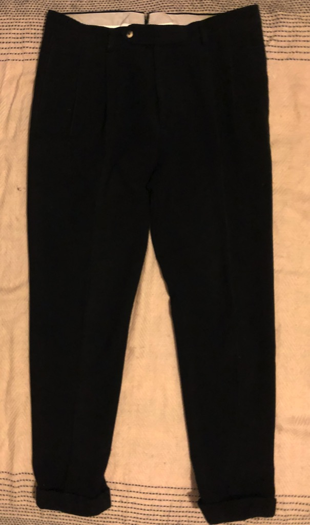 Camoshita corduroy double pleated pant in black in size 50.jpg