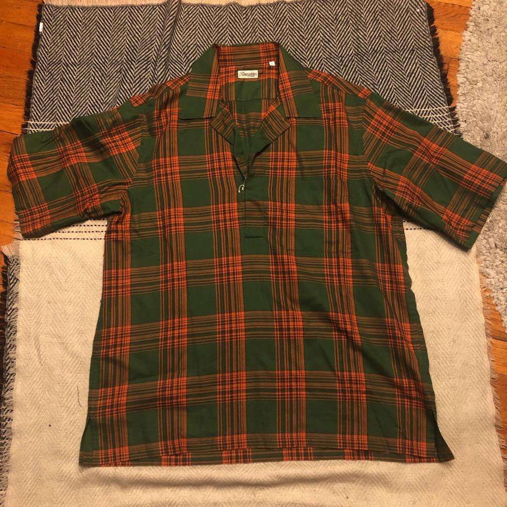 Camoshita skipper shirt in cotton:tencel kelly green & orange plaid in size L.jpg