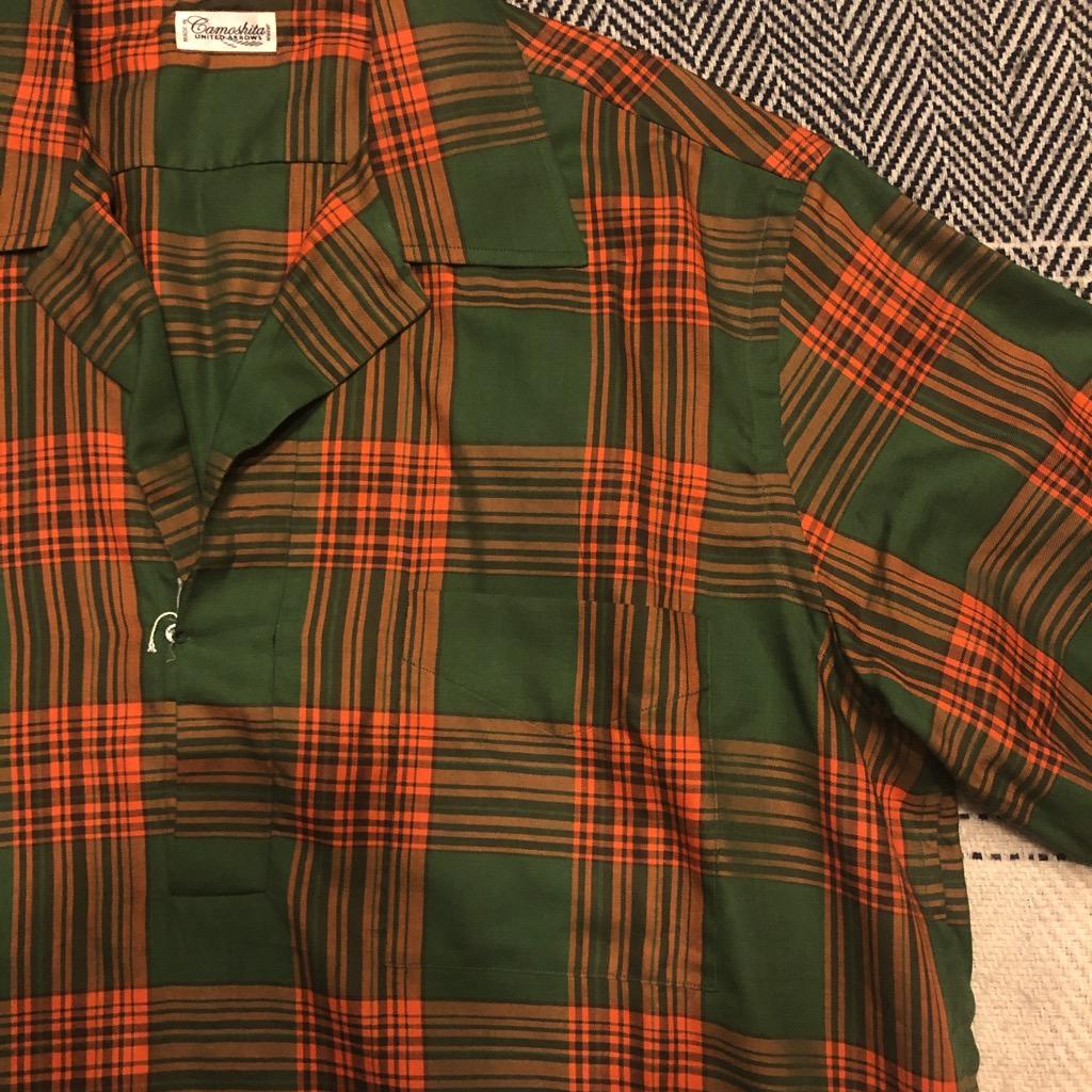 Camoshita skipper shirt in cotton:tencel kelly green & orange plaid in size L_2.jpg