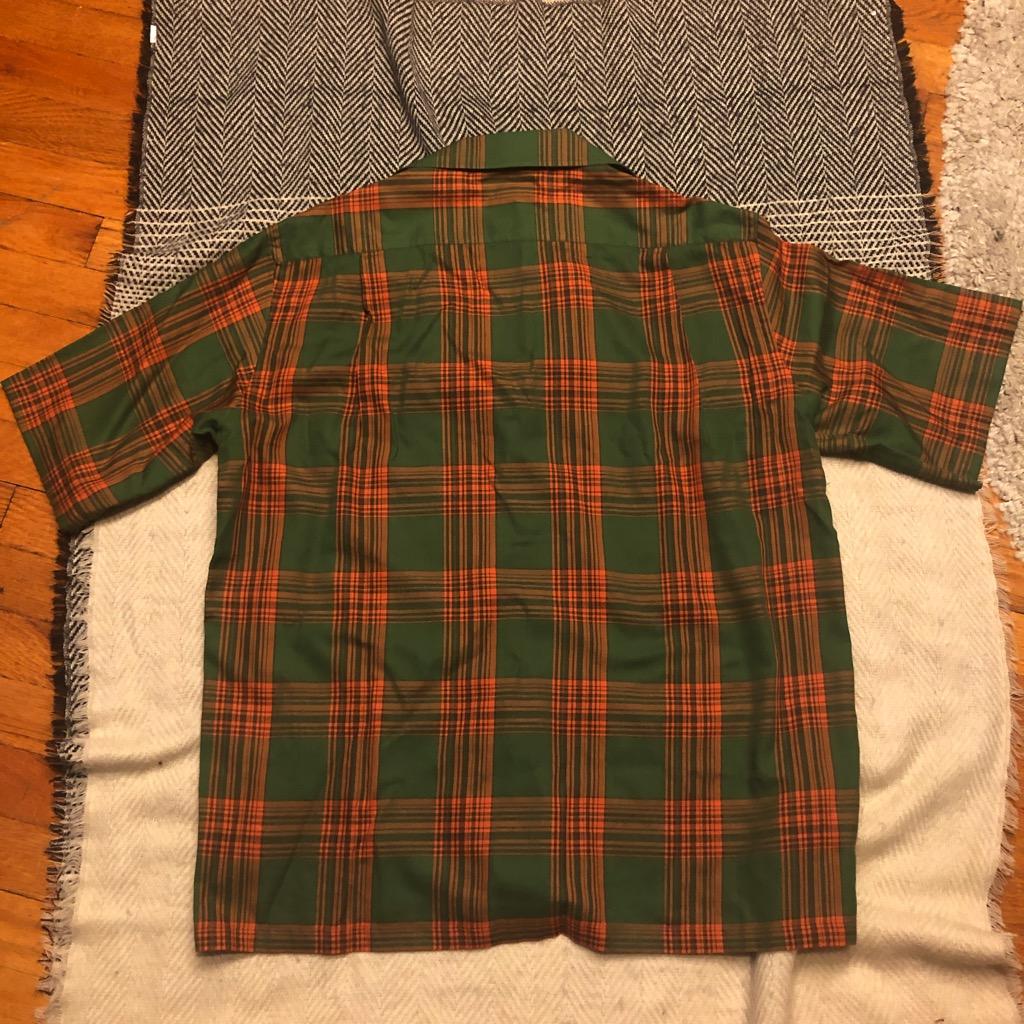 Camoshita skipper shirt in cotton:tencel kelly green & orange plaid in size L_4.jpg
