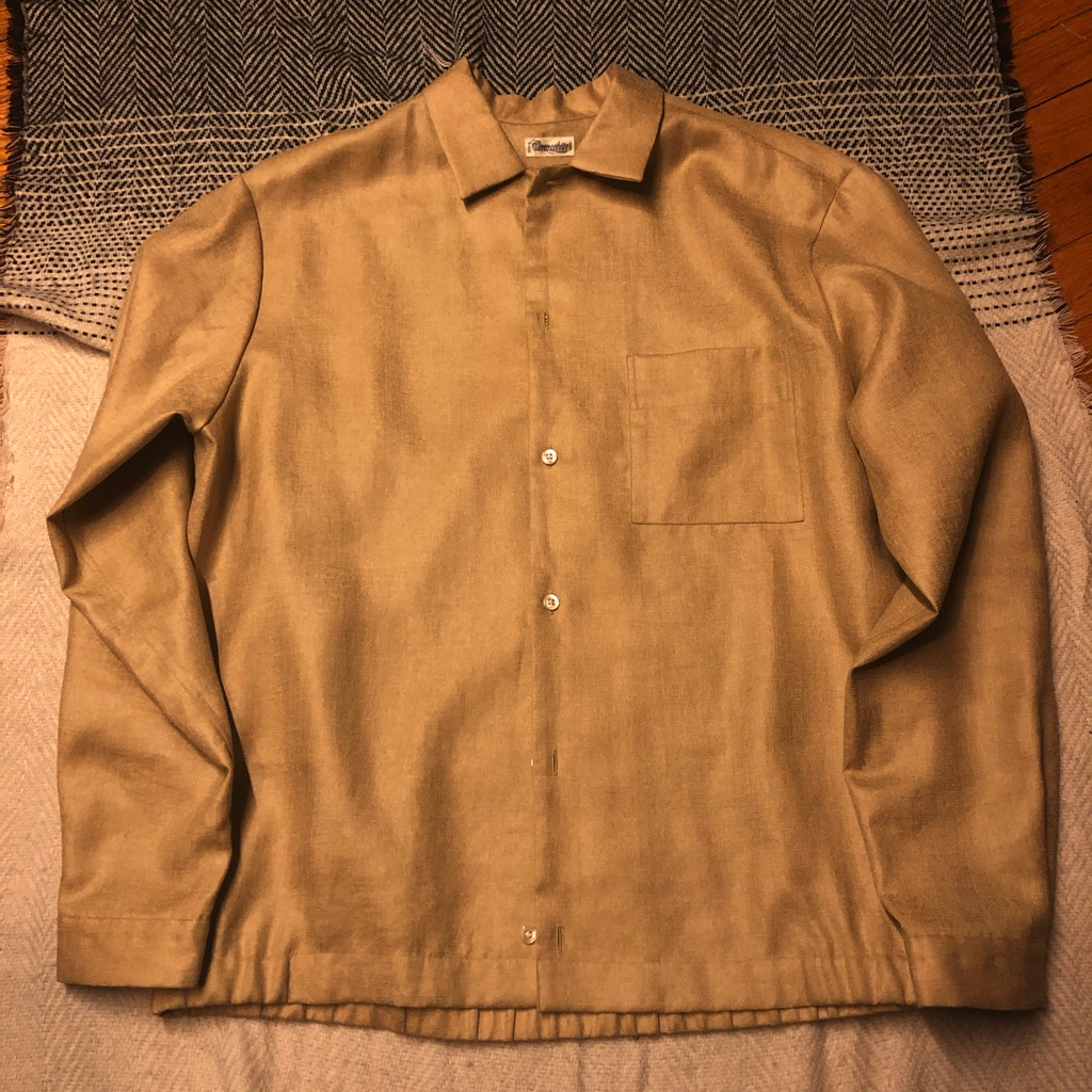 Camoshita triacetate:polyester (synthetic) blend shirt jacket in mustard in size L_2.jpg