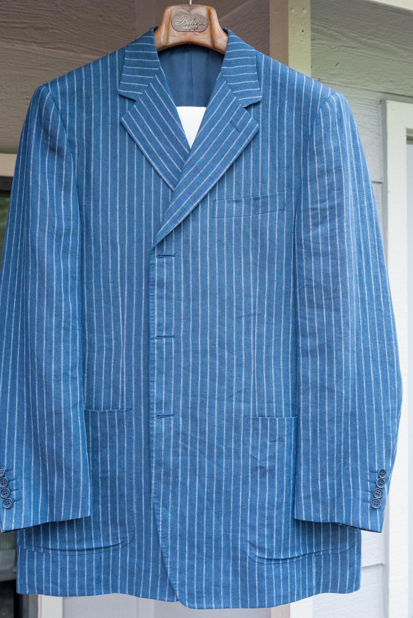 Canali 52 L 100% Linen Pinstripe Jacket.jpg