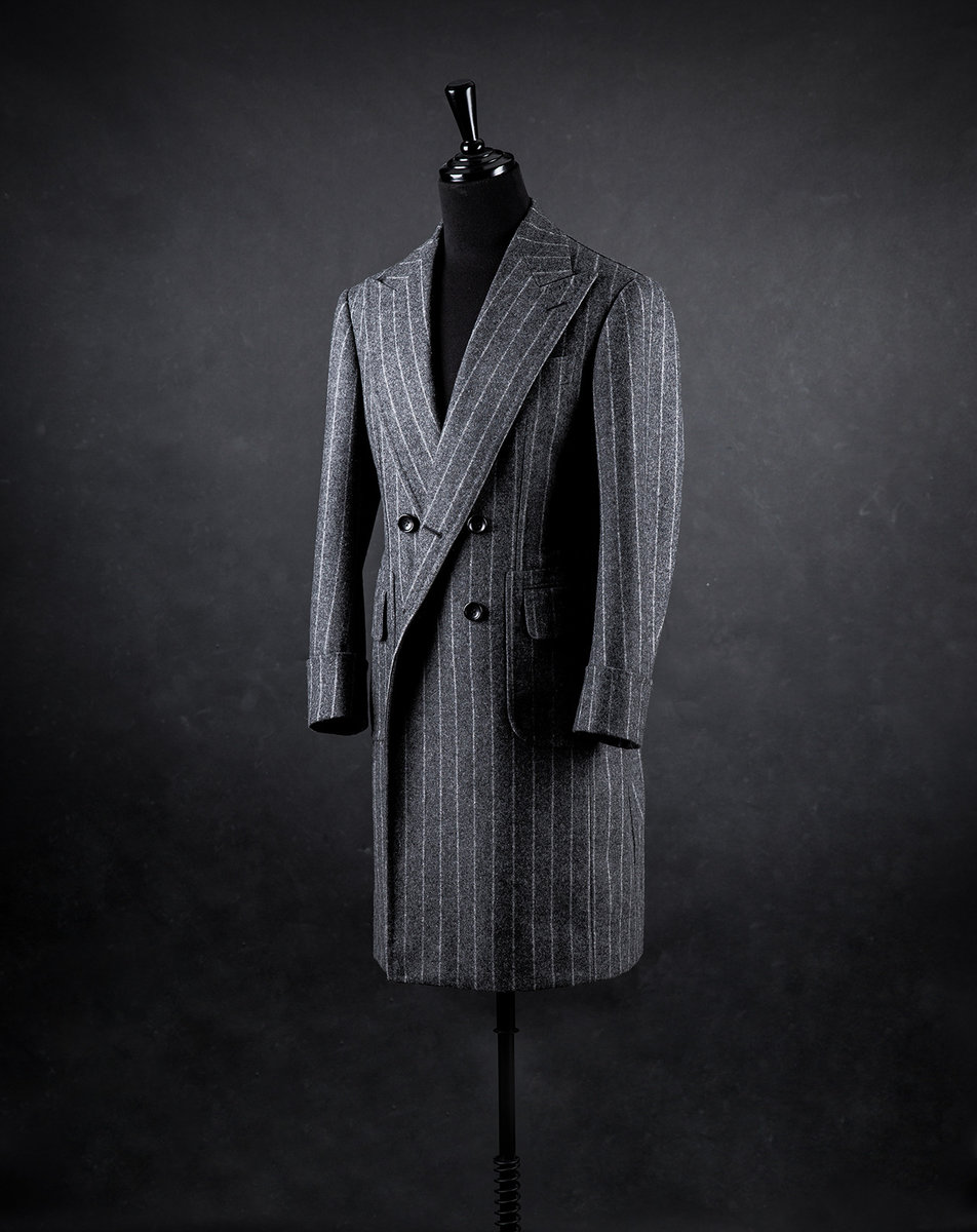 Chalk-stripe flannel DB overcoat front.jpeg