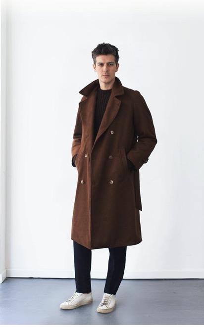 De Bonne Facture chestnut wool Grandad trench coat in size 52.jpg