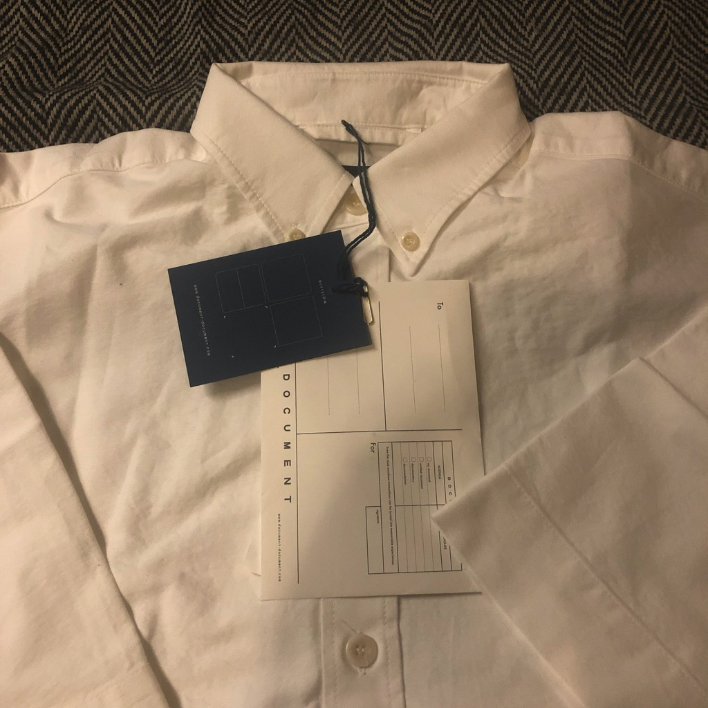 Document relaxed button down oxford shirt in white in size L.jpg