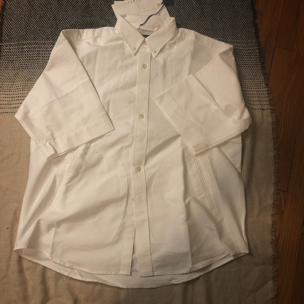 Document relaxed button down oxford shirt in white in size L_2.jpg