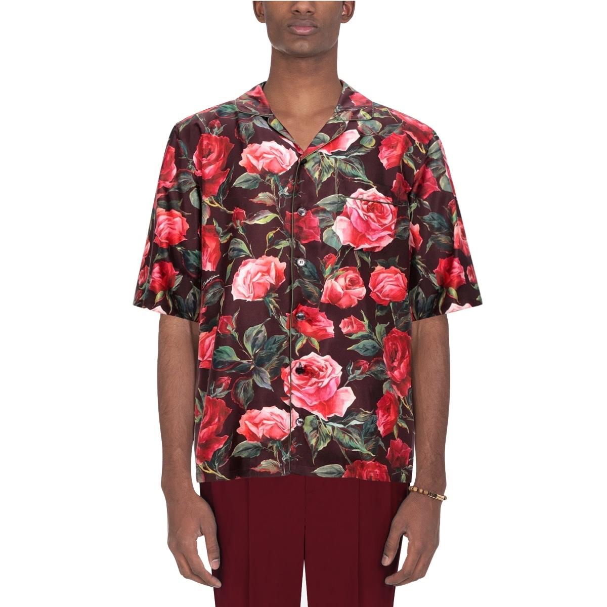 Dolce Gabbana Floral Silk Pajama Shirt fit1.jpg