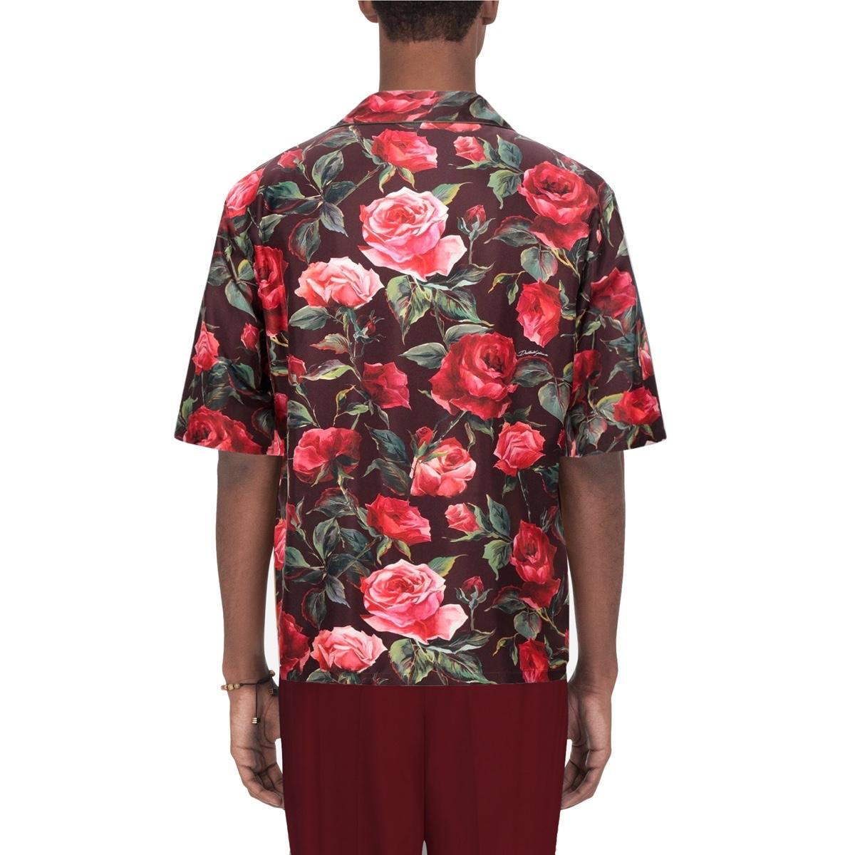 Dolce Gabbana Floral Silk Pajama Shirt fit2.jpg