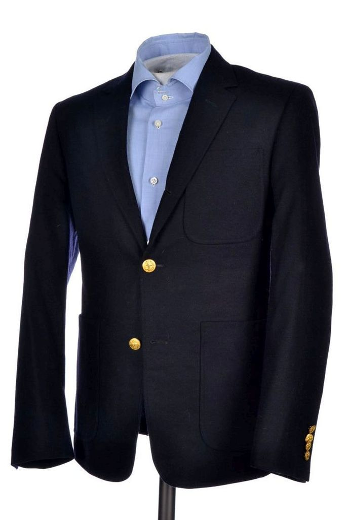Brooks Brothers Black Fleece Blue Blazer Gold Buttons