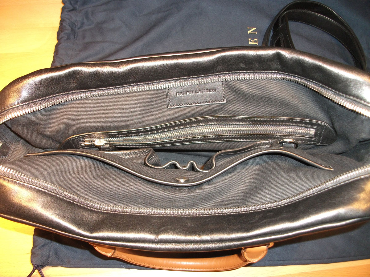 4f4e3f2ae0bd RALPH LAUREN Quilted Calfskin Briefcase black