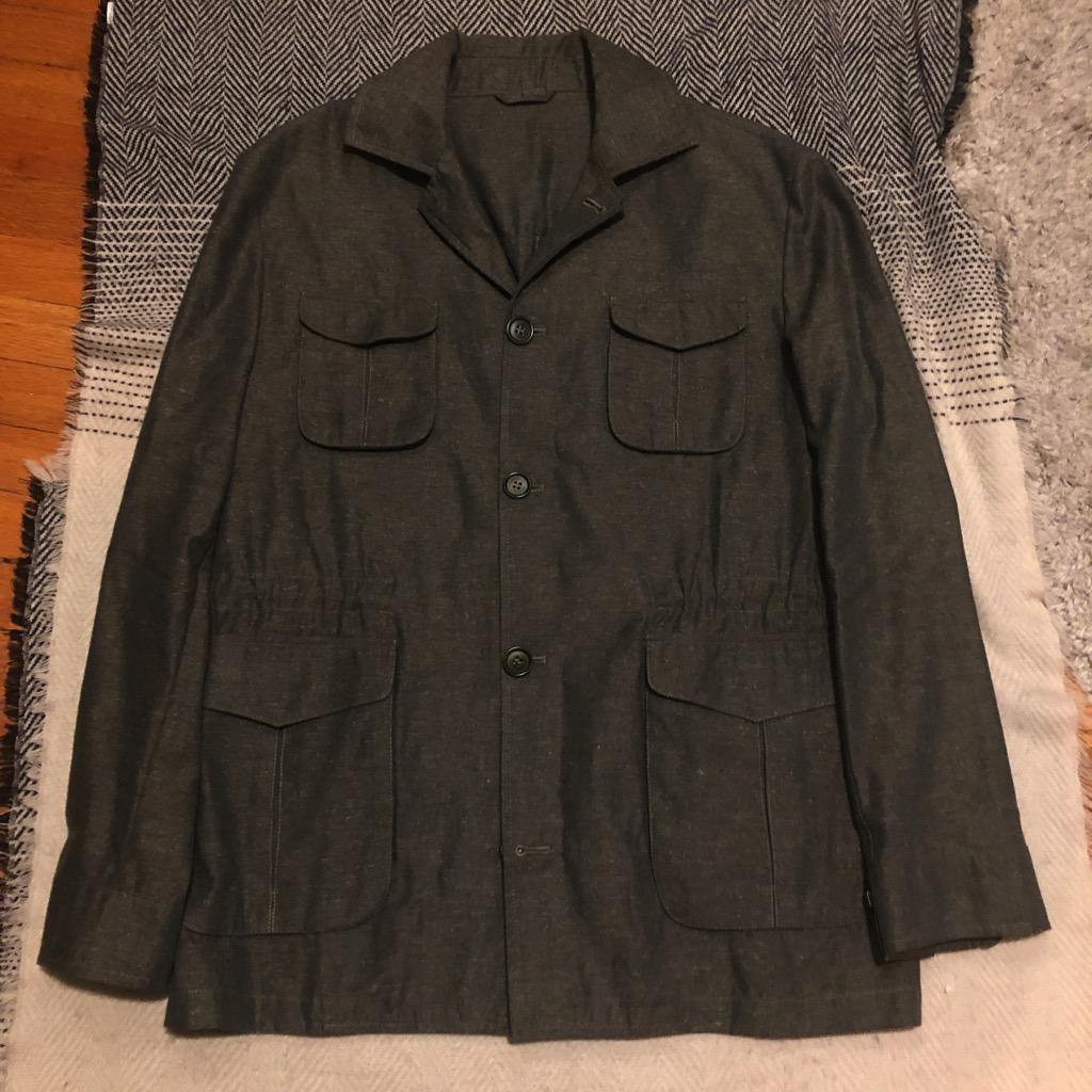 Eidos Ragosta olive silk:linen field jacket in size 54.jpg