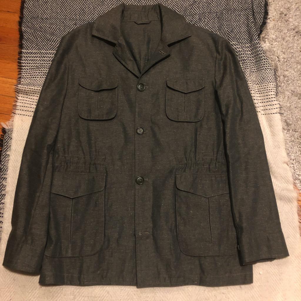 Eidos Ragosta olive silk:linen field jacket in size 54_2.jpg