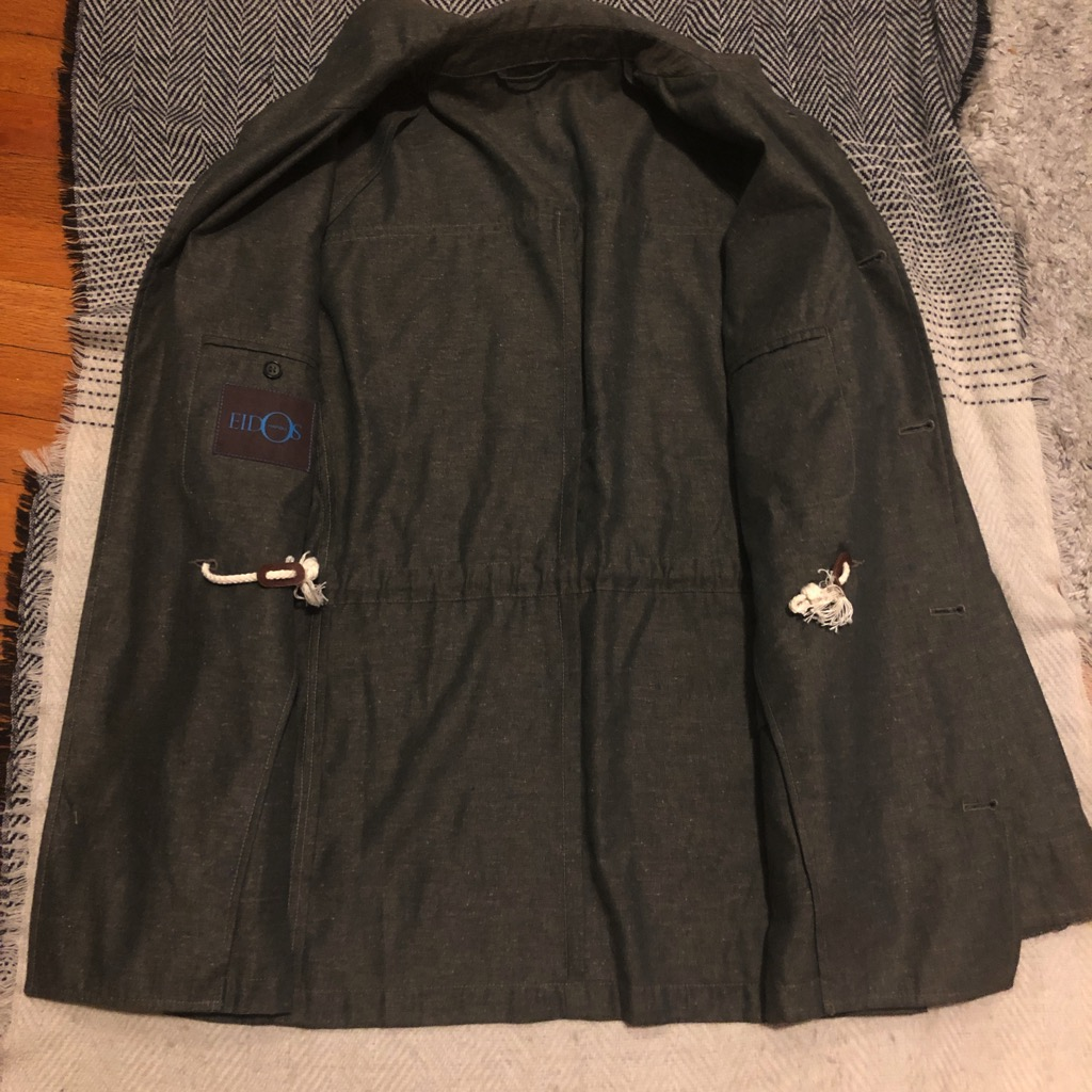 Eidos Ragosta olive silk:linen field jacket in size 54_3.jpg