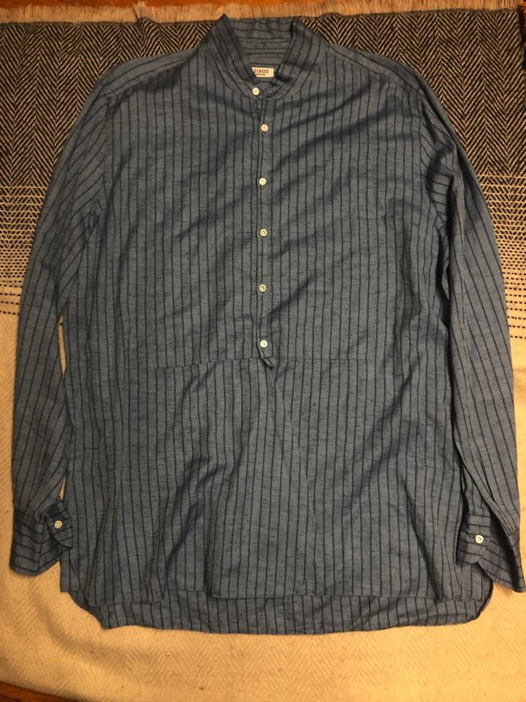 Eidos Shangtung slub silk:linen kurta striped shirt in size L_1.jpg