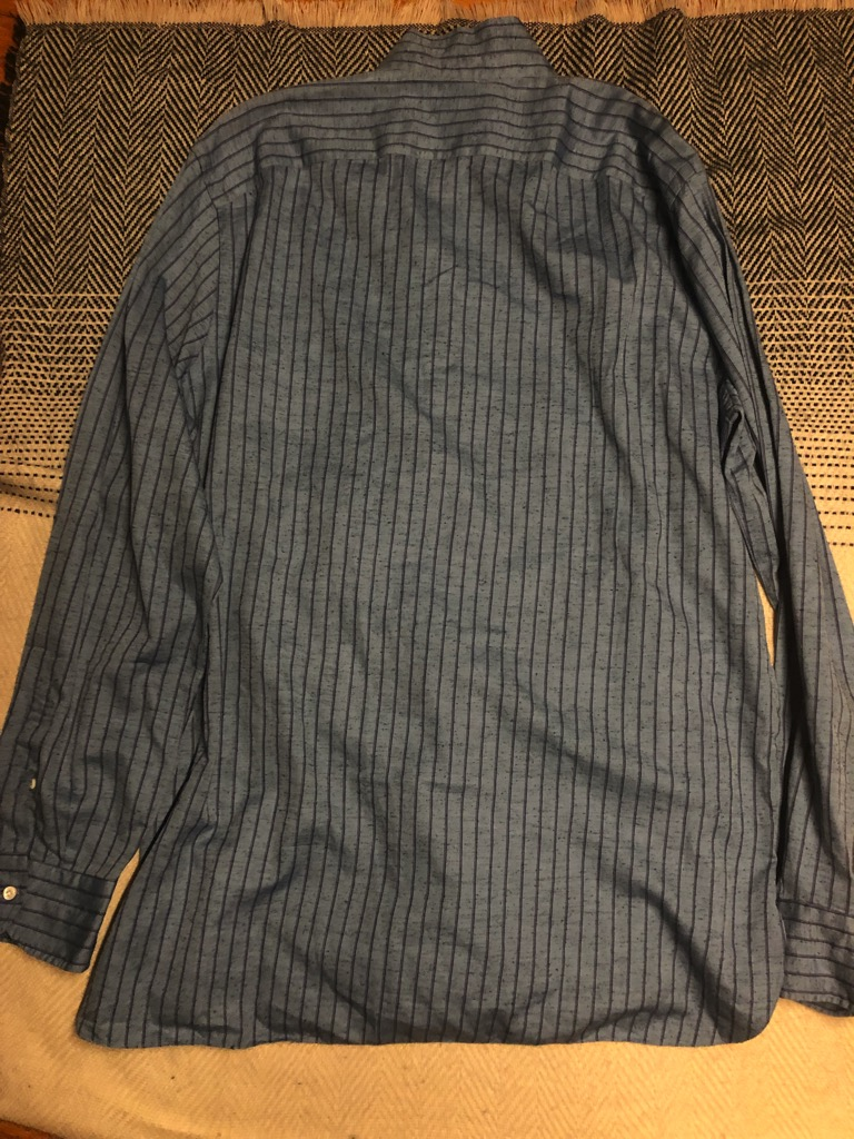 Eidos Shangtung slub silk:linen kurta striped shirt in size L_2.jpg