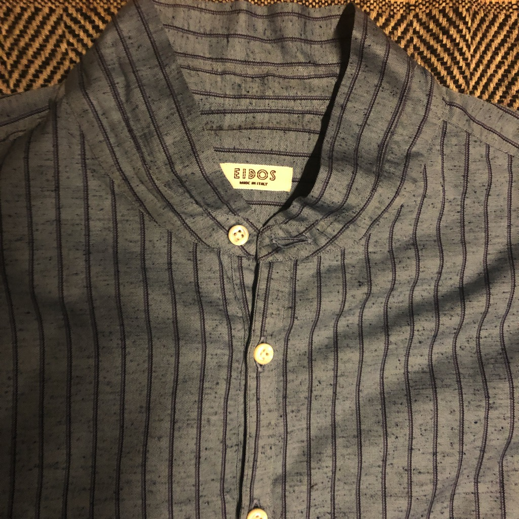 Eidos Shangtung slub silk:linen kurta striped shirt in size L_3.jpg
