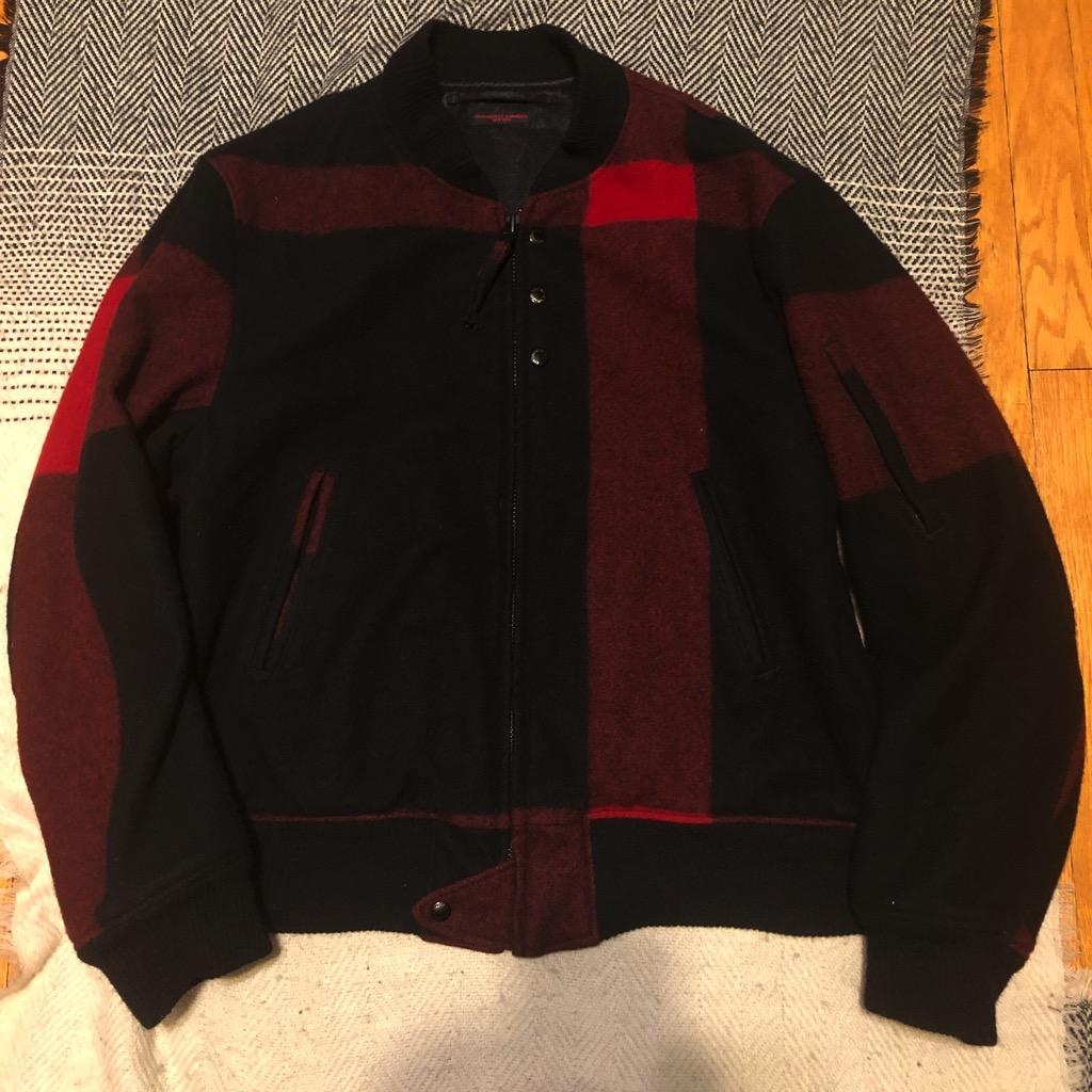 Engineered Garments aviator jacket in melton wool red:black big plaid in size XL.jpg