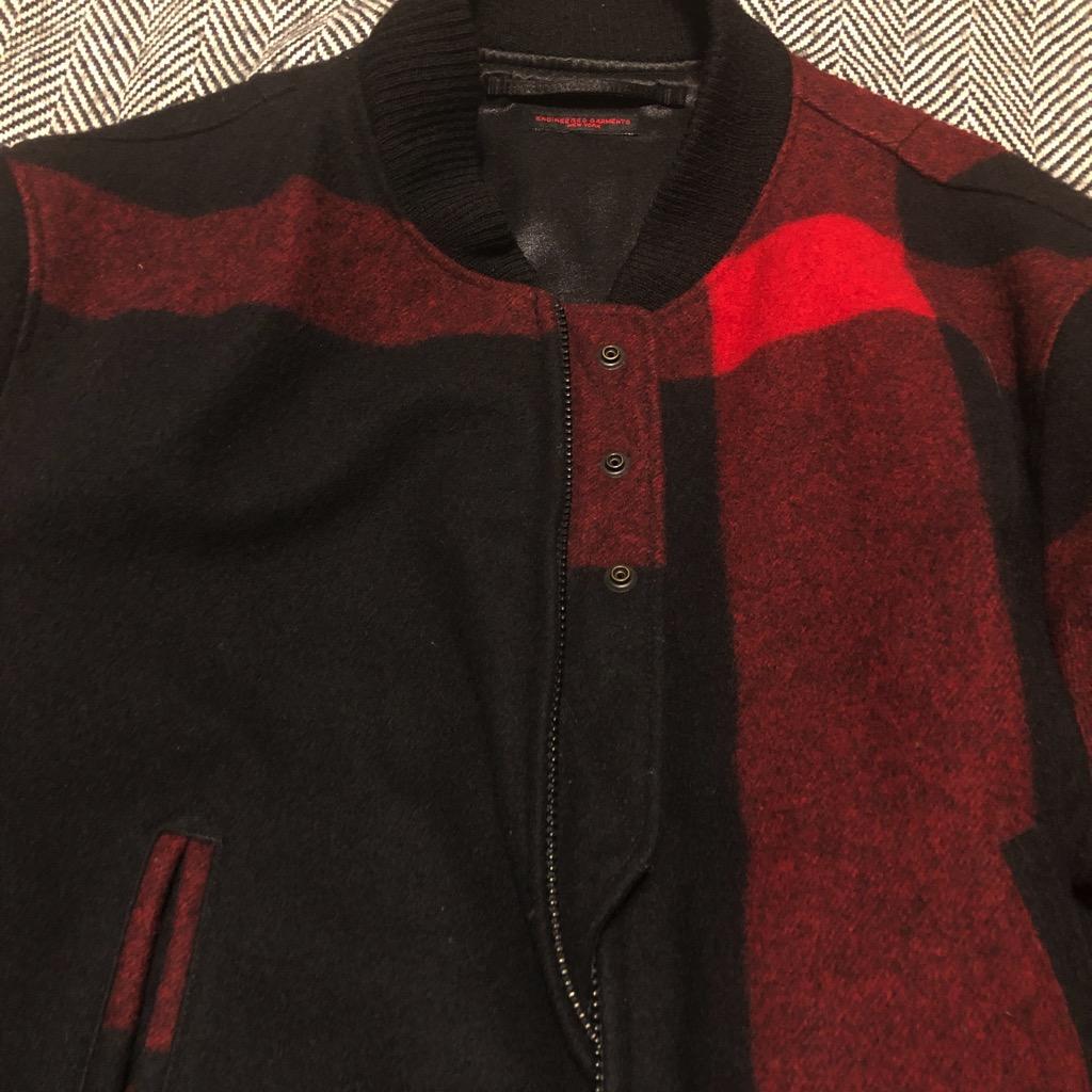 Engineered Garments aviator jacket in melton wool red:black big plaid in size XL_4.jpg