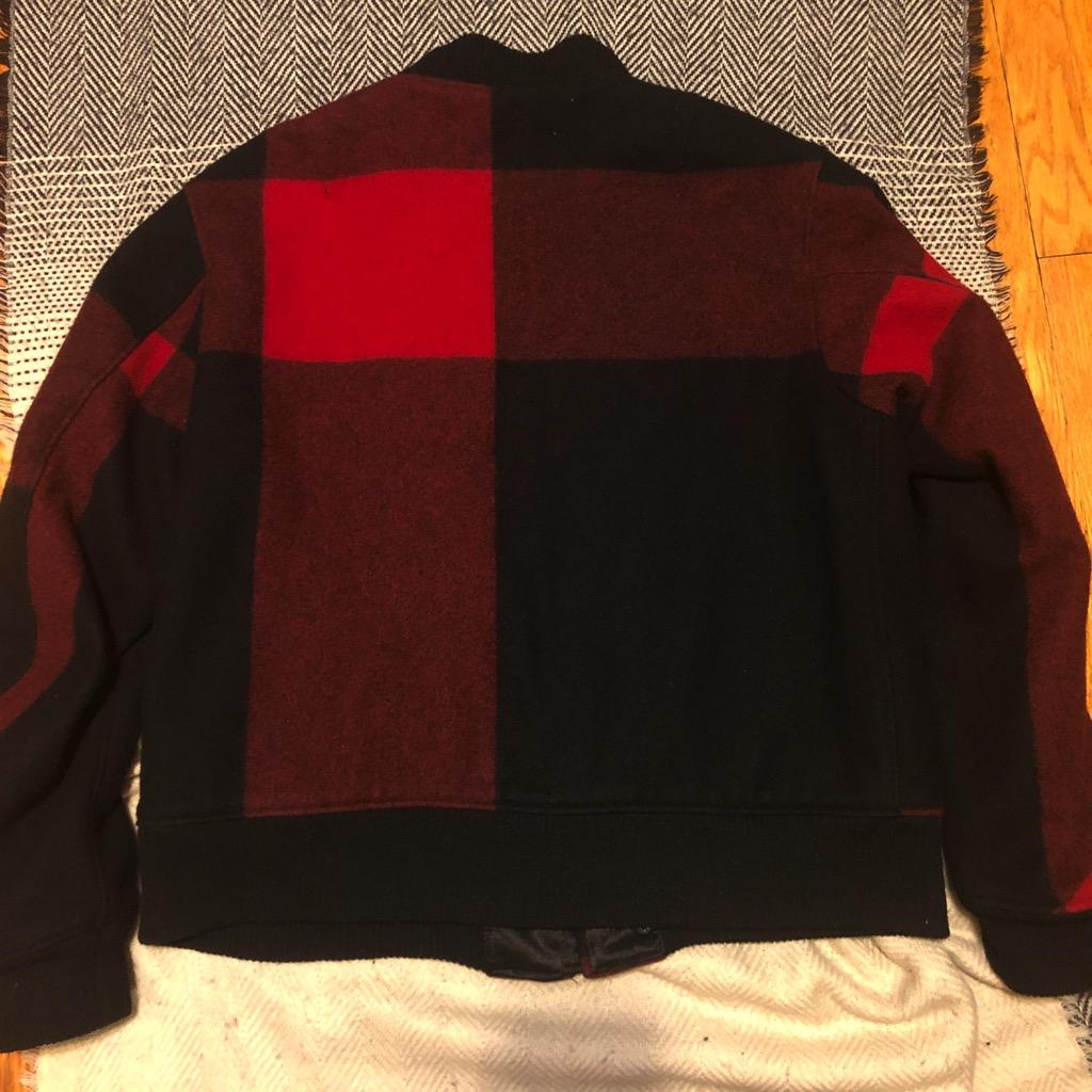 Engineered Garments aviator jacket in melton wool red:black big plaid in size XL_5.jpg