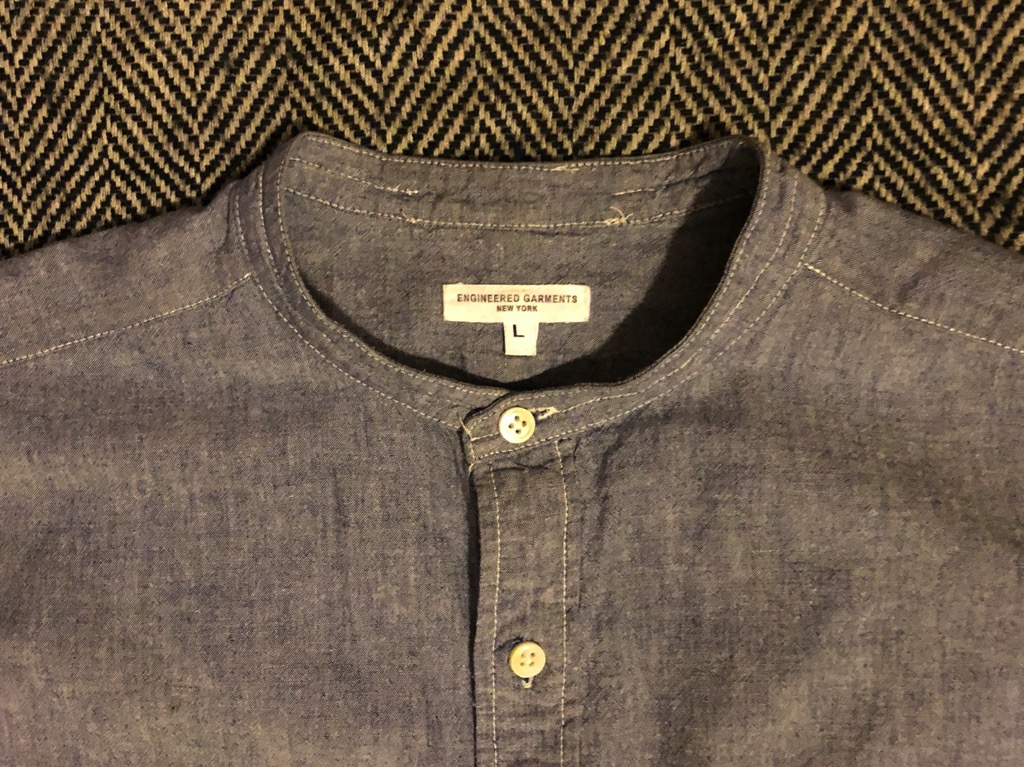 Engineered Garments band collar chambray bd shirt in Size L (cotton)_2.jpg