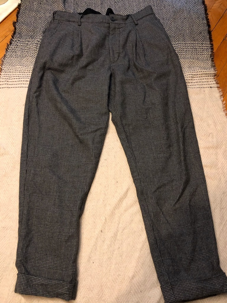 Engineered Garments Grey Wool Pleated Glen Plaid Houndstooth WP Pants in Size 36.jpg