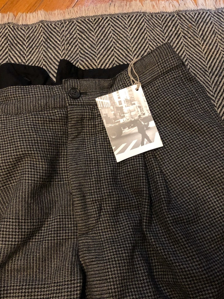 Engineered Garments Grey Wool Pleated Glen Plaid Houndstooth WP Pants in Size 36_4.jpg