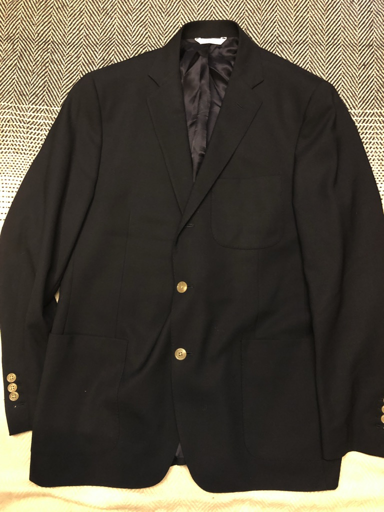 Epaulet navy wool hopsack:basketweave suit in size 43.jpg