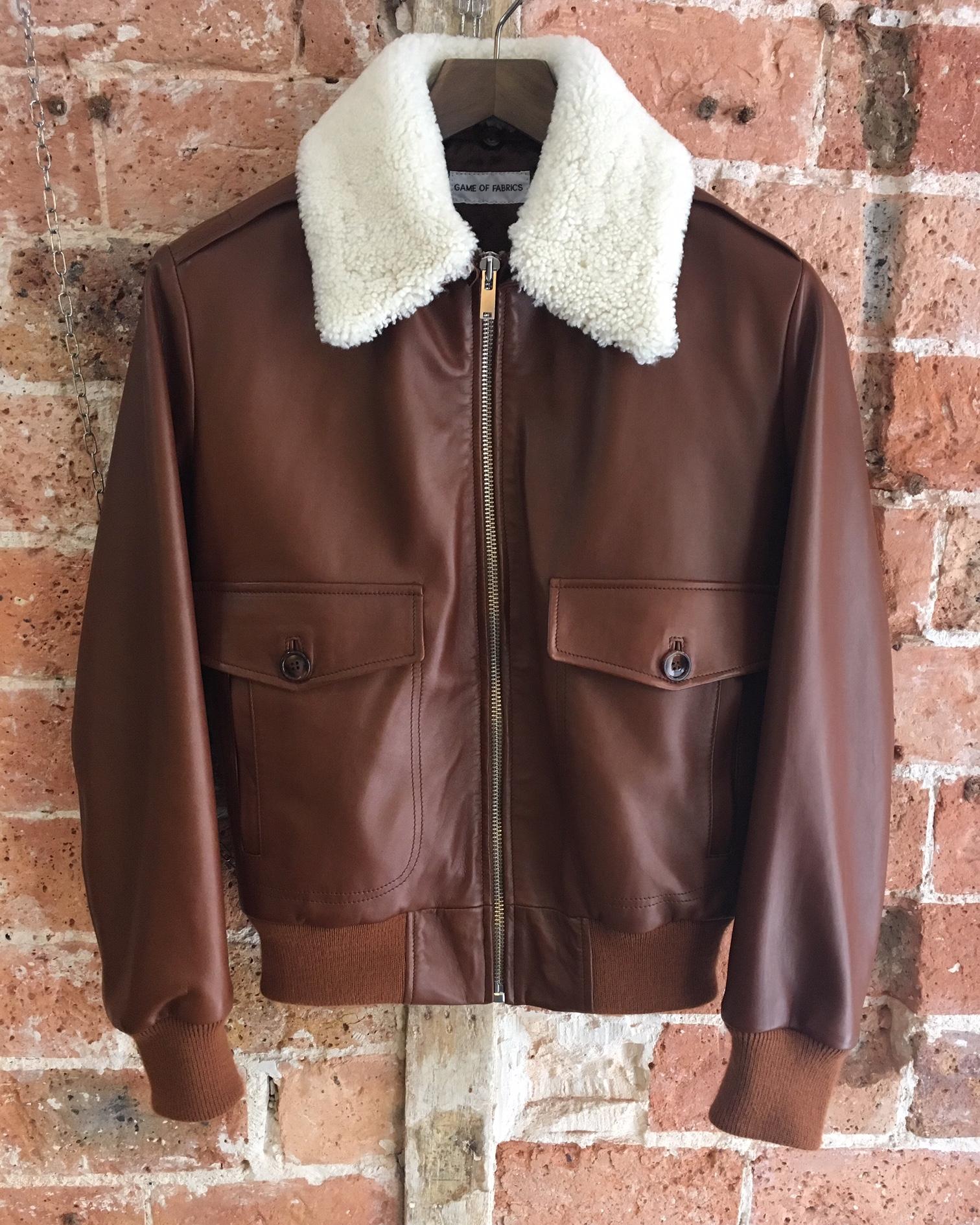 Flight jacket in walnut lambskin.JPG
