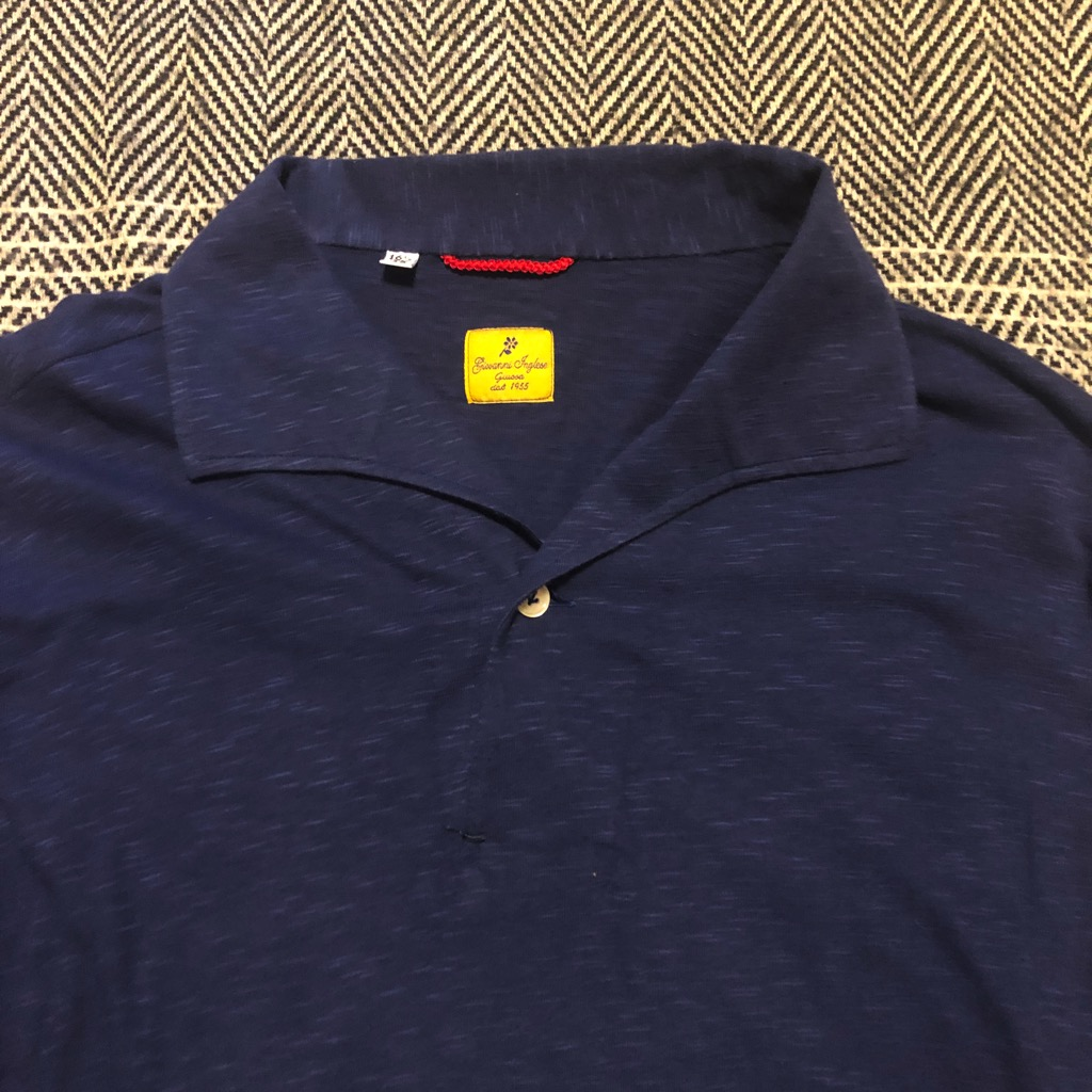 G. Inglese cotton polo shirt in navy in size 16.5:42_2.jpg