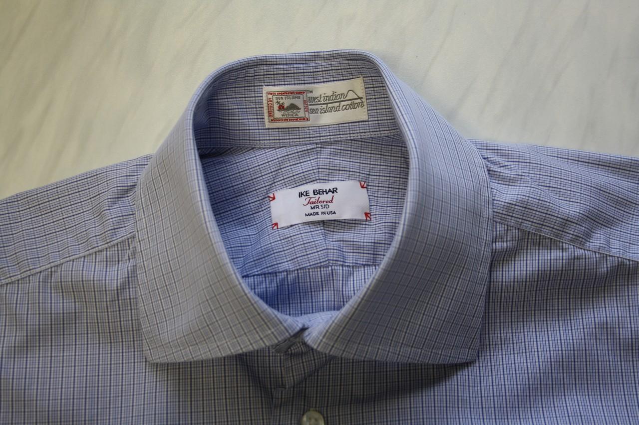 Nwot Ike Behar Sea Island Cotton Dress Shirt Size 15 Blue Checks