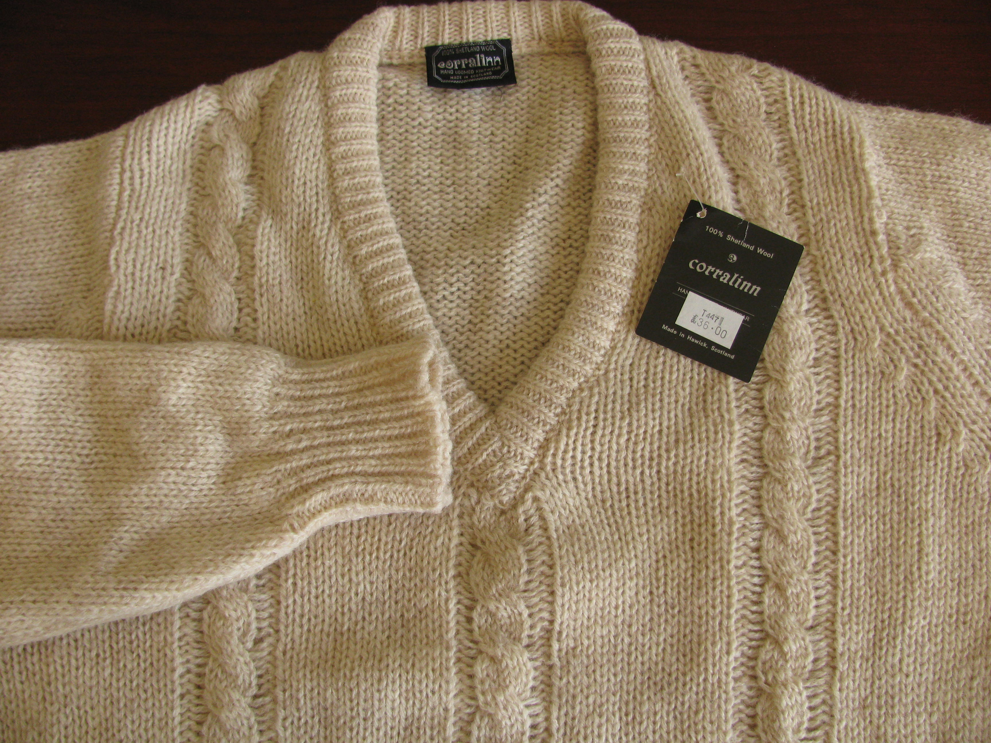 Sold Nwt Corralinn Shetland V Neck Cable Knit Sweater Made In