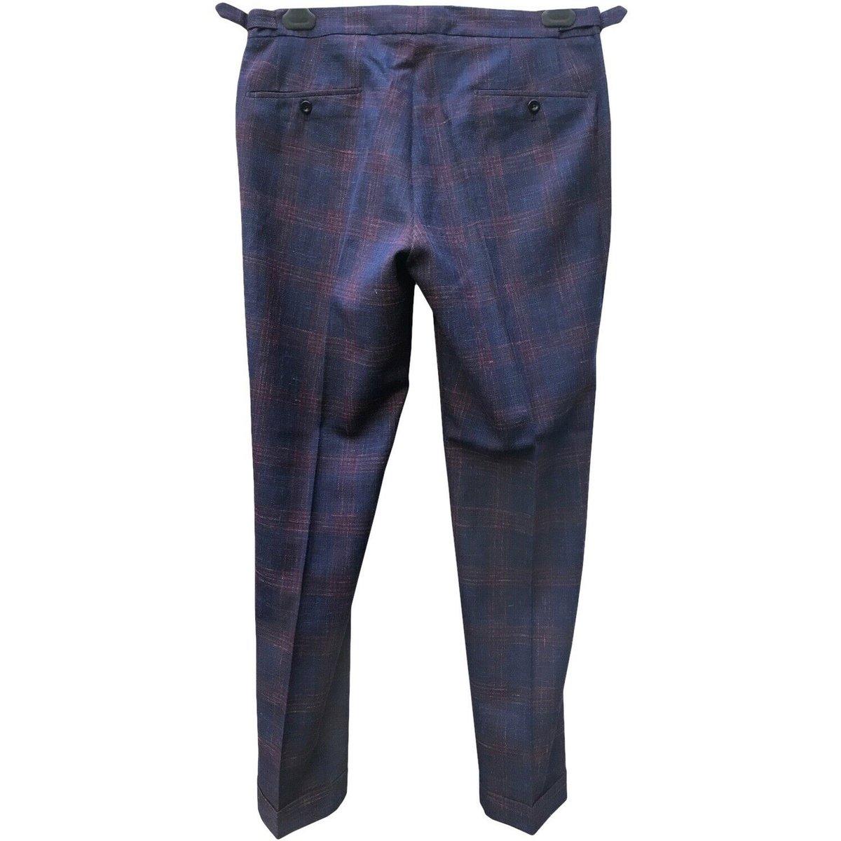incotex pleated basketweave plaid wool pants 2.jpg