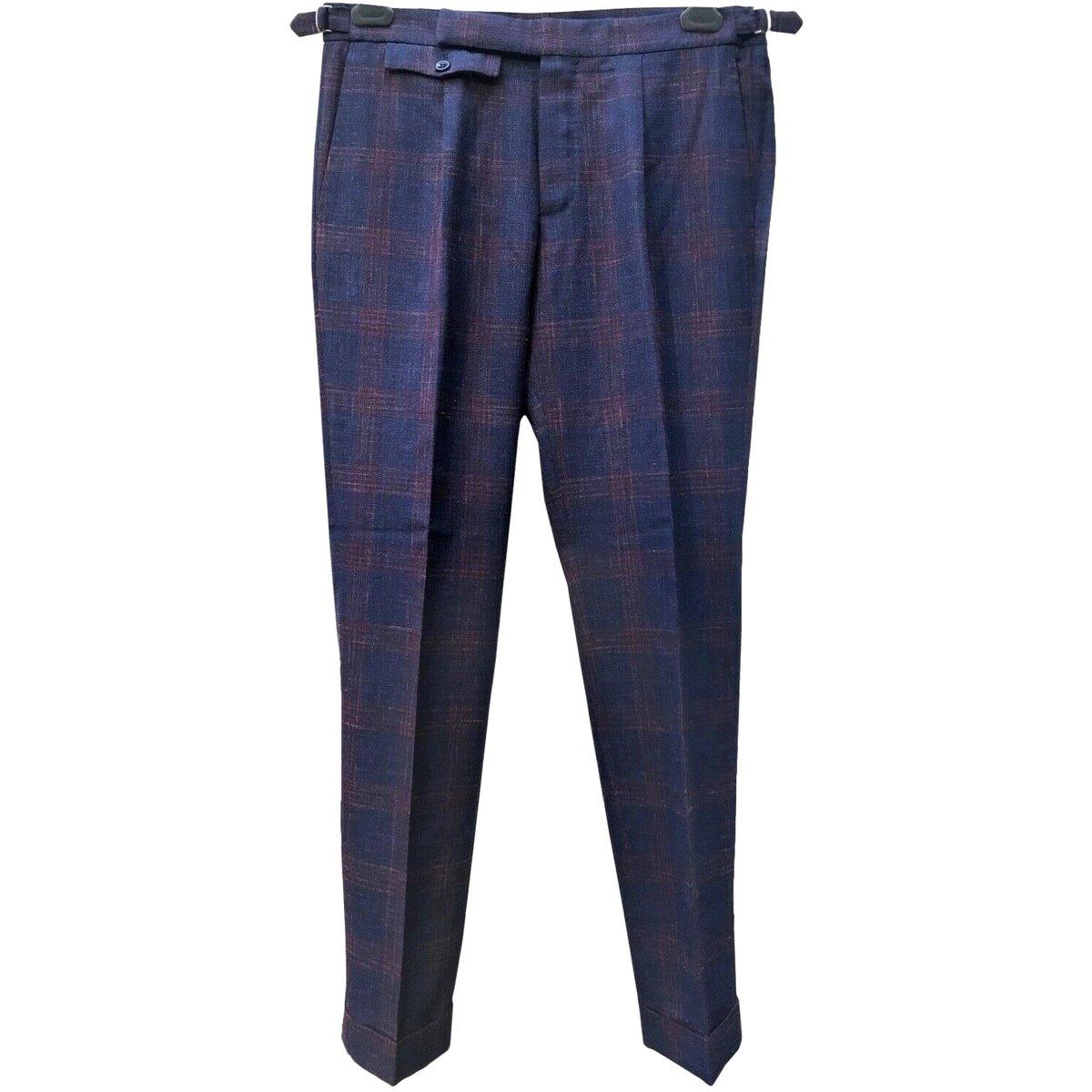 incotex pleated basketweave plaid wool pants.jpg