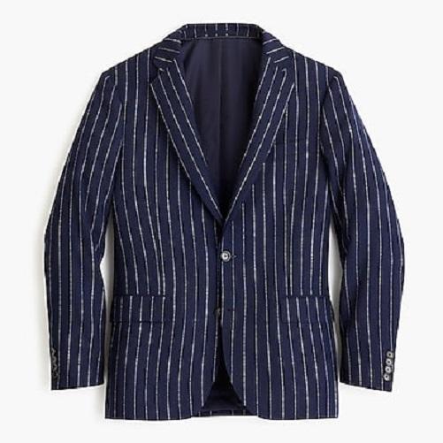 J.Crew Ludlow Slim-fit blazer in bouclé wool blend - Navy Stripe 34s.jpg